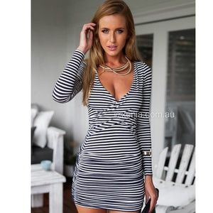Xenia Eternal Love Stripe Dress (Navy & White)